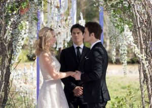 "The Vampire Diaries -- ""We're Planning a June Wedding"" -- Image Number: VD815c_0121.jpg -- Pictured (L-R): Candice King as Caroline, Ian Somerhalder as Damon and Paul Wesley as Stefan -- Photo: Bob Mahoney/The CW -- © 2017 The CW Network, LLC. All Rights Reserved."